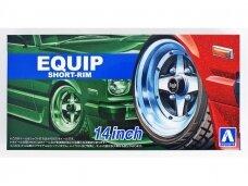 Aoshima - E'quipe Short Rim 14inch Tire & Wheel Set, Mastelis:1:24, 05547