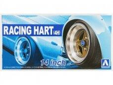 Aoshima - Racing Hart 4H 14inch Tire & Wheel Set, Mastelis:1:24, 05377