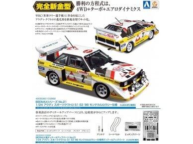 Aoshima Beemax - Audi Sport Quattro S1 E2 Monte Carlo Rally 1986, Mastelis: 1/24, 10398, 24017 4