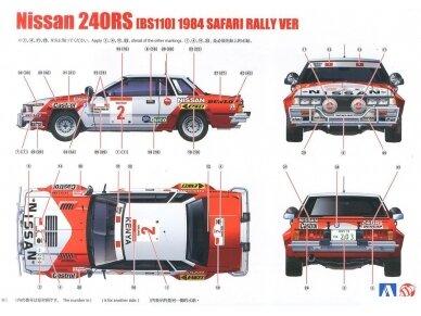 Aoshima Beemax - Nissan 240RS BS110 `84 Safari Rally, Mastelis: 1/24, 10433, 24014 12