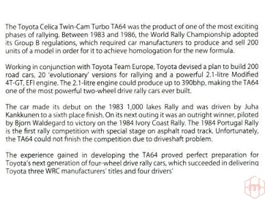 Aoshima Beemax - Toyota TA64 Celica `84 Portugal Rally Version, Mastelis: 1/24, 10314, 24011 8