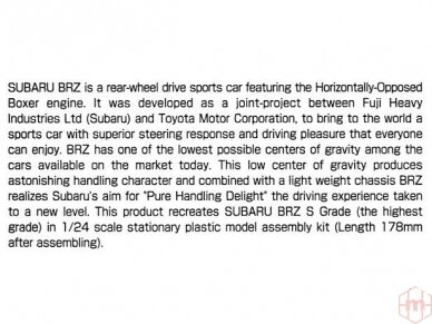 Aoshima - Subaru ZC6 BRZ `12, Mastelis: 1/24, 05161 4