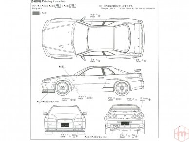 Aoshima - Nissan BNR34 Skyline GT-R V-Spec II '02, Mastelis: 1/24, 05858 7