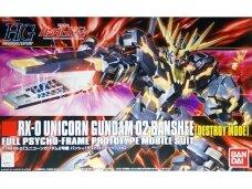 Bandai - HGUC RX-0 Unicorn Gundam 02 Banshee (Destroy Mode), Mastelis: 1/144, 57983