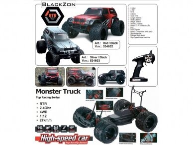 Blackzon - Monster Truck, Mastelis: 1/12, 534600 2