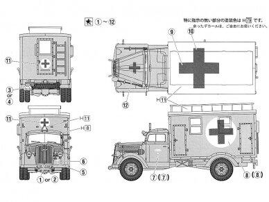 Fujimi - German Military Truck Opel Blitz 3t Ambulance, Mastelis: 1/72, 72231 4