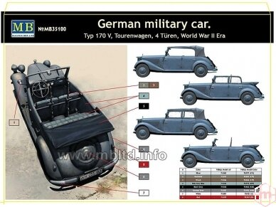 Master Box - German military car Mercedes-Benz 170 V, Mastelis: 1/35, MB35100 2