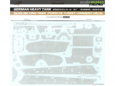 Meng Model - Sd.Kfz.182 King tiger (Porsche Turret) w/ zimmerit decals, Scale: 1/35, TS-037, SPS-060 2