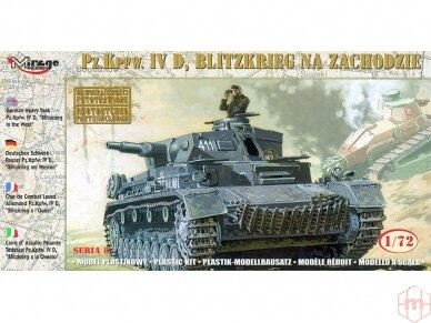 """Mirage Hobby - German Heavy Tank Pz.Kpfw. IV D """"Blitzkrieg in the West"""", Scale: 1/72, 72854"""