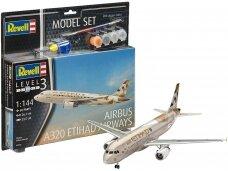 Revell - Airbus A320 ETIHAD AIRWAYS dovanų komplektas, Mastelis: 1/144, 63968
