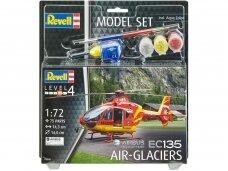 Revell - EC 135 Air-Glaciers dovanų komplektas, Mastelis: 1/72, 64986