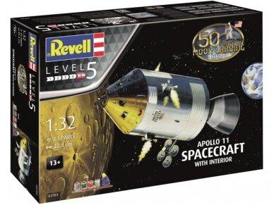 Revell - Apollo 11 Spacecraft w/ Interior dovanų komplektas, Mastelis: 1/32, 03703