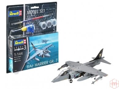 Revell - BAe Harrier GR. 7 dovanų komplektas, Mastelis: 1/144, 63887