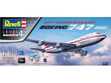 Revell - Boeing 747-100, 50th Anniversary dovanų komplektas, Mastelis: 1/144, 05686