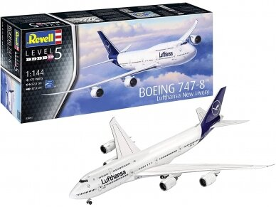 """Revell - Boeing 747-8 Lufthansa """"New Livery"""", Scale: 1/144, 03891"""