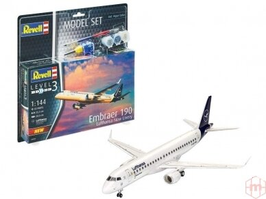 "Revell - Embraer 190 ""Lufthansa"" dovanų komplektas, Mastelis: 1/144, 63883"