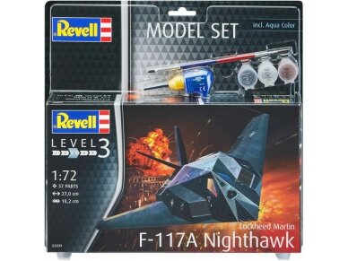 Revell - F-117A Nighthawk Steal Model Set, Scale: 1/72, 63899 2