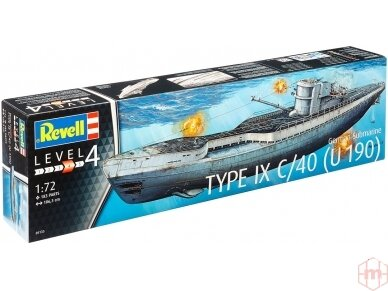 Revell - German Submarine Type IX C/40 (U190), Mastelis: 1/72, 05133
