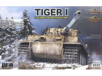 "Rye Field Model - German Tiger I Early Production Wittmann's Tiger No. 504 su pilnu interjeru ir skaidriomis dalimis, ""veikiantys"" vikšrai, Mastelis: 1/35, RFM-5025"