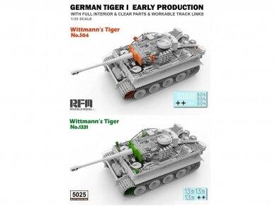 "Rye Field Model - German Tiger I Early Production Wittmann's Tiger No. 504 su pilnu interjeru ir skaidriomis dalimis, ""veikiantys"" vikšrai, Mastelis: 1/35, RFM-5025 15"