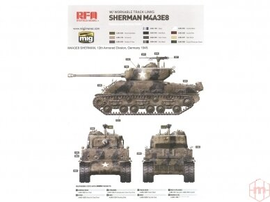 Rye Field Model - M4A3E8 Sherman w/Workable Track Links, Mastelis: 1/35, RFM-5028 12
