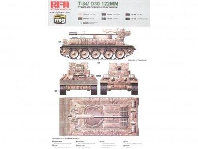 Rye Field Model - T-34/D30 122mm Syrian Self-Propelled Howitzer, Scale: 1/35, RFM-5030 9