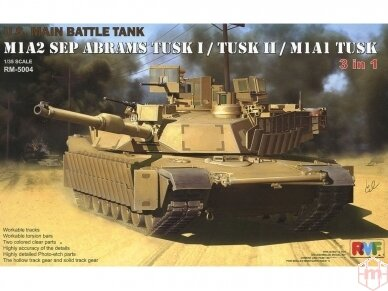 Rye Field Model - U.S. Main Battle Tank M1A2 SEP Abrams TUSK I / TUSK II / M1A1 TUSK, Scale: 1/35, RFM-5004