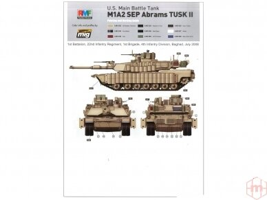 Rye Field Model - U.S. Main Battle Tank M1A2 SEP Abrams TUSK I / TUSK II / M1A1 TUSK, Scale: 1/35, RFM-5004 12