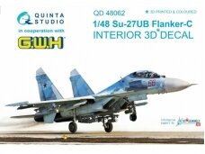 QUINTA STUDIO - 1/48 Su-27UB 3D-Printed & coloured Interior on decal paper (for GWH kit) (decals), 1/48, 48062