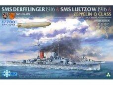 Takom - Limited Edition SMS Derfflinger 1916 + SMS Lützow 1916 + Zeppelin Q-class (Waterline), 1/700, 7043