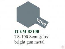 Tamiya - TS-100 Semi-gloss bright gun metal, 100ml