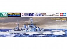 Tamiya - Waterline Series British Battle Cruiser Hood & E Class Destroyer, Mastelis: 1/700, 31806
