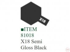 Tamiya - X-18 Semi gloss black, 10ml