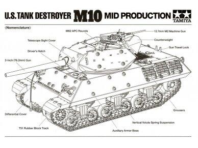 Tamiya - U.S. Tank Destroyer M10 Mid Production, Mastelis: 1/35, 35350 9