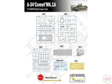 VESPID MODELS - A-34 Comet MK.1A British Cruiser Tank, Scale: 1/72, 720002 5