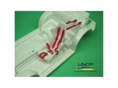 USCP - Racing Seatbelts PE set Red, 1/24, 24A016 2