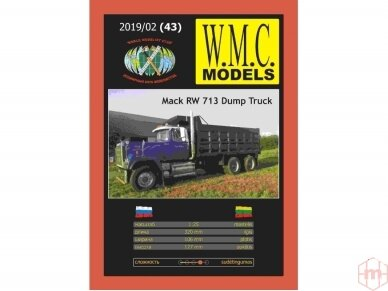 WMC - Mack RW 713 Dump Truck iš faneros Lazeriu pjautas rėmas, Mastelis: 1/25, 43-1