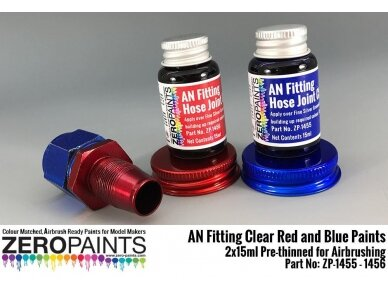 Zero Paints - AN Fitting (Hose Joints/Ends) Clear Red and Blue Paints 2x15ml, ZP-1455