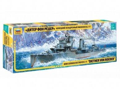 Zvezda - WWII Destroyer Z-17 Diether von Roeder, Mastelis: 1/350, 9043