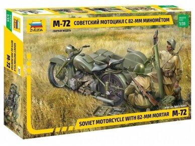 Zvezda - Soviet Motorcycle M-72 w/Mortar, Scale: 1/35, 3651